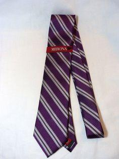 Mens Merona Tie Purple W Gray stripes Silk New Neck Tie Skinny Classic #Merona #NeckTie