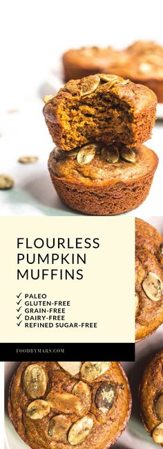 Flourless Pumpkin Muffins - EASY to whip up and makes a perfect healthy treat for Autumn. (paleo, gluten-free, grain-free, dairy-free, refined sugar-free) - via Food by Mars Read Full Article Patisserie Sans Gluten, Dessert Sans Gluten, Paleo Dessert, Dessert Recipes, Paleo Pumpkin Muffins, Gluten Free Pumpkin, Healthy Muffins, Sugar Free Recipes, Paleo Recipes