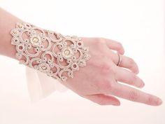 tatting idea ~ Bridal Cuffs Vintage crochet Silk & Swarovski OOAK by by Joliejye Tatting Armband, Tatting Bracelet, Tatting Jewelry, Lace Jewelry, Handmade Jewelry, Needle Tatting, Tatting Lace, Vintage Crochet, Vintage Lace
