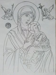St Therese Of Lisieux, Painting Lessons, Line Drawing, Easy Drawings, Madonna, Vikings, Black And White, Christmas Ornaments, Cartoons