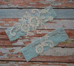 Lace Wedding Garter, Blue Lace Bridal Garter Set, Ivory Floral Lace Wedding Garter Belt, Vintage Style Garter Set, Something Blue Garter Set by SpecialTouchBridal on Etsy