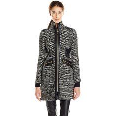 Via Spiga Women's Tweed Wool Coat ($126) ❤ liked on Polyvore featuring outerwear, coats, wool coat, woolen coat, via spiga coats, via spiga and faux wool coat