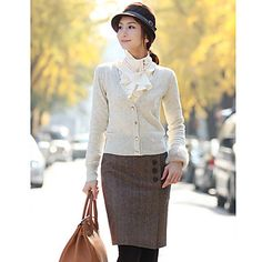 Dames+Tweed+Pencil+Skirt+met+knoppen+–+EUR+€+15.58