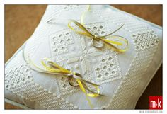 Hardanger Embroidery Ideas Ring pillow handcrafted by the groom's mom for an added personal touch to the wedding. Hardanger Embroidery, Paper Embroidery, Learn Embroidery, Latest Embroidery Designs, Machine Embroidery Designs, Embroidery Patterns, Cushion Ring, Ring Pillow, Crochet Doily Patterns