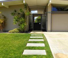 Modern Concrete Paver Walkway Ideas: Simple Modern Eichler Concrete Precast Walkway