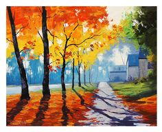 AUTUMN ROAD PAINTING fall houses traditional artwork Graham gercken by GerckenGallery on Etsy https://www.etsy.com/listing/109445401/autumn-road-painting-fall-houses