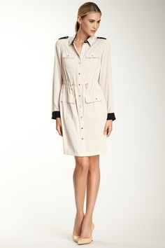 Great work dress - Calvin Klein Colorblock Epaulette Shirt Dress