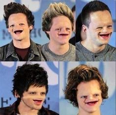 One direction without eyebrows teeth or noses