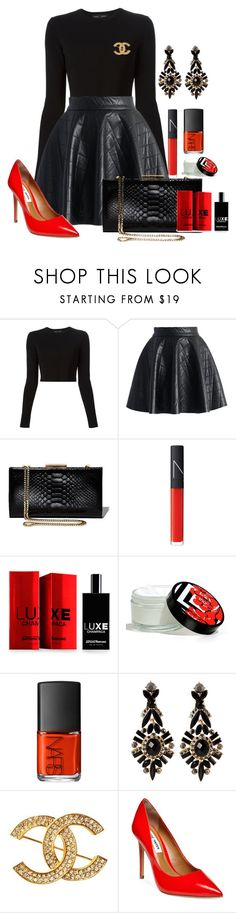 """""""Red Flare"""" by stay813 ❤ liked on Polyvore featuring Proenza Schouler, Chicwish, Salvatore Ferragamo, NARS Cosmetics, Comme des Garçons, Josie, Chanel and Steve Madden"""