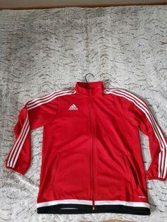 Adidas Rouge Sport Hommes Veste Survêtement Bandes De