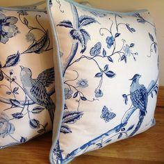Handmade Laura Ashley Summer Palace Royal Blue self piped cushions new at CalamityJaynes!