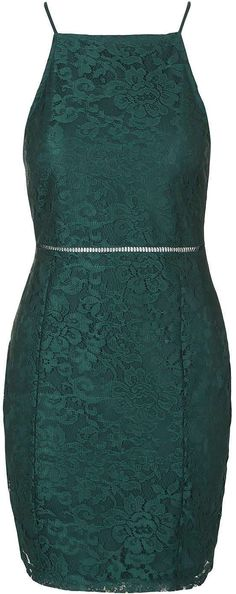 Womens bottle green strappy lace bodycon dress from Topshop - £36 at ClothingByColour.com