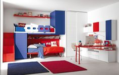Wide cool teenage bedroom with two carpet different color and high white wardrobe and many storage and sleek floor and simple red desk and pale chair color and highrise bed