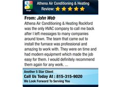 Athena Air Conditioning & Heating Rockford was the only HVAC company to call me back after...