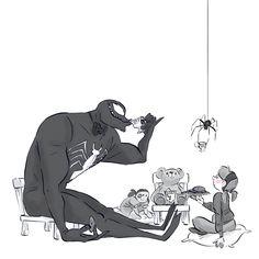 Tea Party Venom by Lesley Vamos for #SketchDailies. (September 25, 2014) #fanart #Venom #SpiderMan