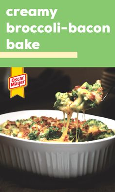 Get cheesy with our Creamy Broccoli-Bacon Bake! In under an hour, you and your family can enjoy this Creamy Broccoli-Bacon Bake filled with deliciousness. Broccoli Dishes, Broccoli Recipes, Vegetable Recipes, Broccoli Bake, Broccoli Casserole, Rice Casserole, Chicken Recipes, Side Dish Recipes, Low Carb Recipes