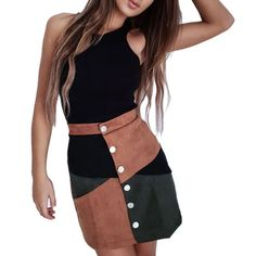 Suede Women Skirt Fashion Patchwork Vintage Short Skirt Summer Spring High Waist Casual Skirts With Button A Line Mini Skirt, A Line Skirts, Short Skirts, Mini Skirts, Denim Pencil Skirt, High Waisted Pencil Skirt, Pencil Skirts, Casual Skirts, Plaid Skirts