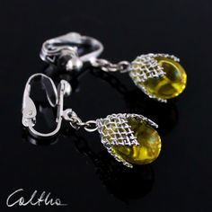 Yellow in mesh (clips) from Caltha jewellery by DaWanda.com