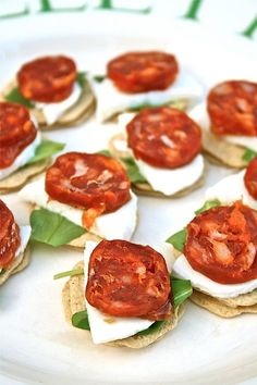 Chorizo canapes recipe with mozzarella and rocket