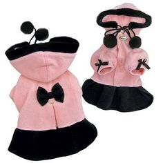 Your dog will be look like the Princess she is in this Princess Dog Coat! Gorgeous thick fleece coat with zippered detachable hood. Accented with 2 pompoms, furry trim around the hood, and princess puffy sleeves with 2 bows. Attached large D-ring. Yorkie Clothes, Pet Clothes, Dog Clothing, Small Dog Clothes, Dog Clothes Patterns, Dog Boutique, Dog Items, Pet Fashion, Dog Sweaters