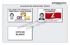 Tarjetón de elección para Alcalde de San José de Pare