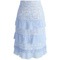 Chicwish Tiered Inspiration Pencil Skirt in Baby Blue (2,555 PHP) ❤ liked on Polyvore featuring skirts, blue, tiered skirt, blue skirt, crochet lace skirts, blue tiered skirt and textured skirt