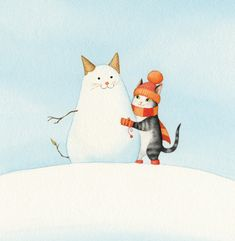 """by Bojana Dimitrovski CECIL AND THE JOYS OF WINTER by Bojana Dimitrovski This is the first picture book I both created and illustrated :) Co-written with a friend, and published by MK Publishing House in Slovenia, the story features our cat Cicko in the lead role…aka Vilko in the Slovene version of the text and Cecil in the English version. Countless thanks to all the helping hands (and minds) that supported this project! --- Bojana """"SnowCATman"""""""