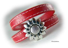 Womens wrap leather bracelet red silver flower  - magnetic clasp Zamac -  womens bracelet - gift for her - gift for women sister girlfriend