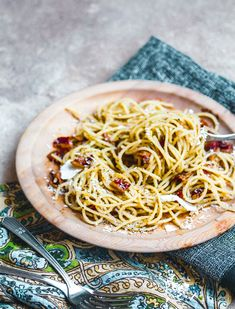 If you like Cacio e Pepe, you have to try Pasta alla Gricia. This is a quick weeknight dinner recipe that manages to be trendy on top of classic. You'll only need 5 ingredients including, pasta (spaghetti or rigatoni), olive oil, pancetta, pecorino romano, and black pepper.