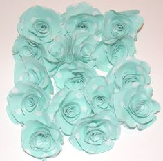 Aqua Blue Fabric Flowers Roses Polka Dot lot of 16 by scrapitsideways, $6.00