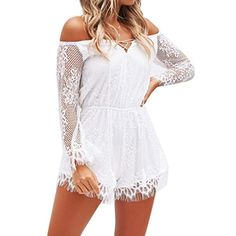 UUYUK Women Spaghetti Strap Cold The Shoulder Floral Tie Front Jumpsuits Playsuit