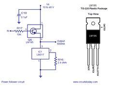 Power follower circuit, constant current/voltage regulator, LM317 voltage regulator circuit with digitally selected output & 1A regulator