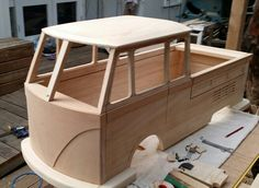 Kombi pedal car M K 2 for my son jack. This one has much more detail and angles. Will have LED lights, radio and battery. Perspex windows and openable splitscean front window.