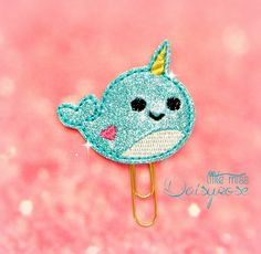 NARWHAL glitter paper clip by LittleMissDaisyrose on Etsy