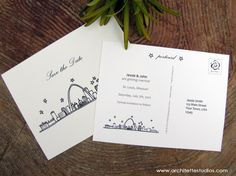Save the Date Wedding - (20) City Skyline Postcards, Etsy, $30