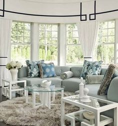 House of Turquoise; round chair for living room Modern Contemporary Living Room, Living Room Modern, My Living Room, Home And Living, Living Spaces, Cozy Living, House Of Turquoise, Curved Couch, Circular Couch