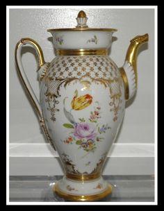 Unusual Antique Hand Painted German Porcelain Coffee Pot