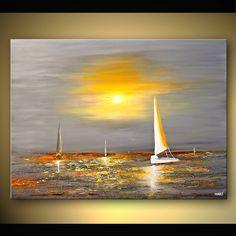Abstrakte seelandschaft Segel Boot Kunst Malerei von OsnatFineArt