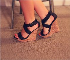 forest green strapy wedges
