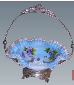 Antique Blue Cased Glass with Enameled Roses Brides Basket Victorian Bride, Victorian Design, Victorian Art, Cut Glass, Glass Art, Brides Basket, Vases, Antique Glass, Fine China