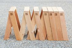 AA Stool by Torafu Architects  Torafu Architects used basic 2×4 planks of red cedar to make the AA Stools, cutting them at an angle to form trestle-like structures. The stools also pack flat for storage and transportation.