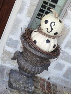 Painted pumpkin topiary