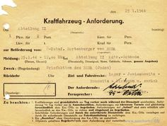 "A card order for SS-Untersturmführer Hartenberger from RSHA to visit Auschwitz subcamps for the ""writing letter action"". Jewish prisoners were forced to write letters containing a standard formula ""I am well and I feel all right""."