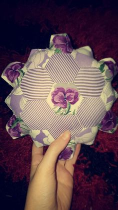 Hand sewn hexagon patchwork cushion
