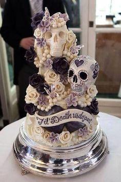 """(via pinner) [Wedding cake ideas- but on the wild side. """"Til Death Do Us Part"""" Skull Wedding Cake] [Halloween wedding idea] Skull Wedding Cakes, Gothic Wedding Cake, Sugar Skull Wedding, Gothic Cake, Medieval Wedding, Crazy Wedding Cakes, Purple Wedding Cakes, Amazing Wedding Cakes, Wedding Cupcakes"""