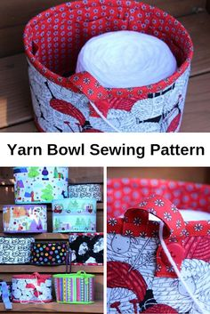 The Yarn Bowl Sewing Pattern will Keep Your Crochet and Knitting Projects Tangle-free Sewing Hacks, Sewing Tutorials, Sewing Tips, Sewing Crafts, Yarn Crafts, Sewing Projects For Beginners, Knitting Projects, Knitting Ideas, Leftover Fabric
