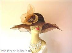 Brown Wide Brim Kentucky Derby Dress Hat, Church Women's Brown Hats