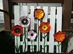 Garden art with vinyl records and old pallet