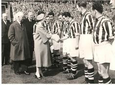 FA Cup Final 1954 - West Bromwich Albion v Preston North End Queen Elizabeth the Queen Mother shakes hands with WBA centre forward Ronnie Allen