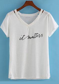 White V Neck Hollow Letters Print T-Shirt Tshirt
